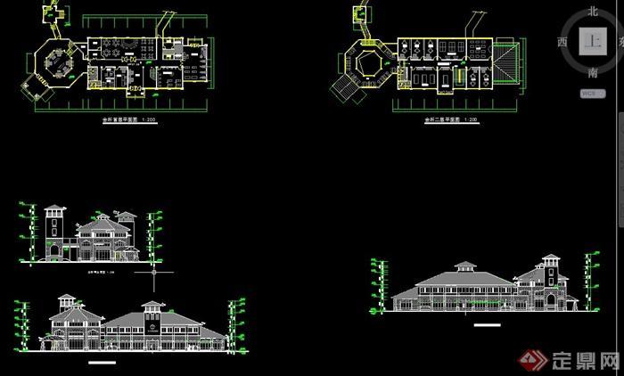 欧式会所建筑设计cad方案图,该建筑楼层为两层,图纸内容有建筑立面图
