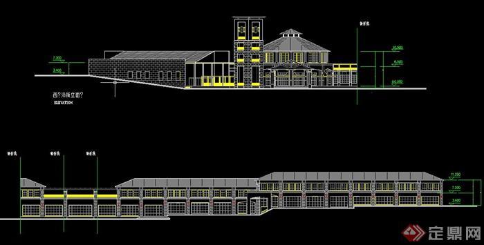 某欧式两层连排会所建筑设计cad方案图