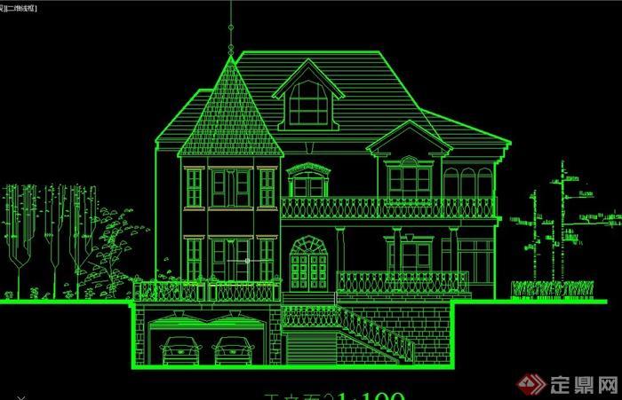 某欧式正负三层带车库别墅建筑设计cad施工图