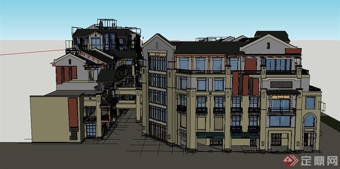 某欧式商业街区建筑设计su模型(1)