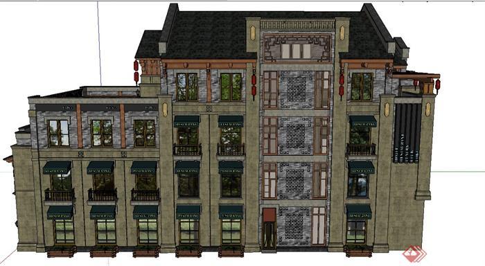 某欧式四层带露天阳台商业建筑设计su模型