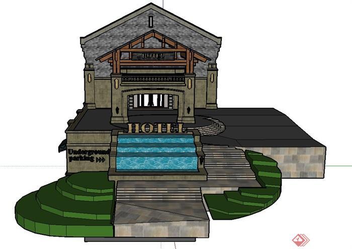 某欧式商业街景观门廊设计SU模型,该模型主要有门廊、台阶、壁灯、文字标注等,具有一定的参考价值。