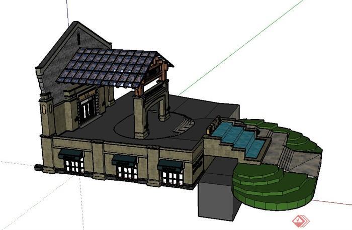 某欧式商业街景观门廊设计su模型