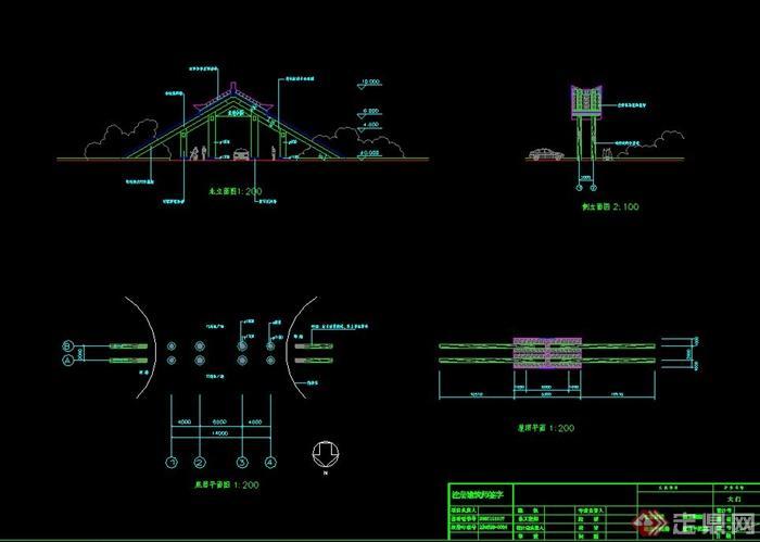 中式大门景区v大门CAD平立面图cad海报制图片