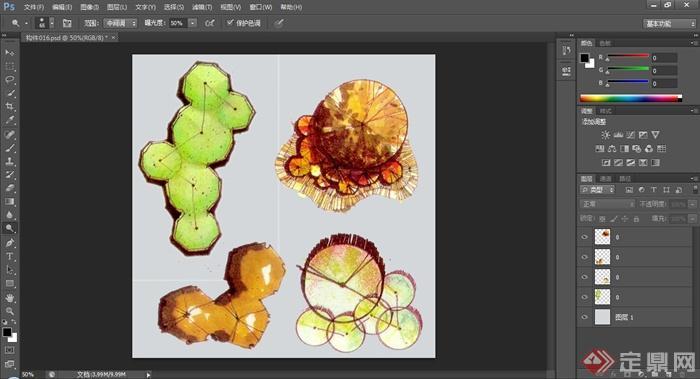 一张组团植物ps平面素材