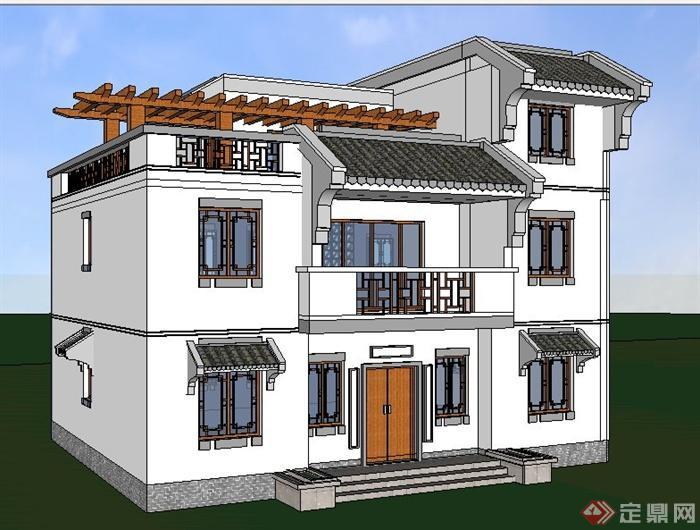 现代中式风格三层小别墅建筑设计su模型图片