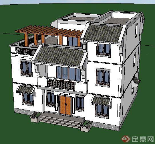 现代中式风格三层小别墅建筑设计su模型[原创]