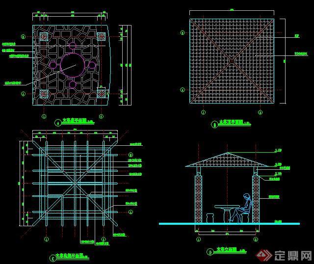 现代景观木亭设计施工图图片