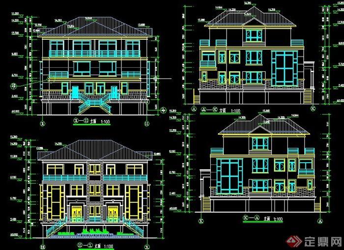 某三层坡屋顶别墅建筑设计CAD施工图