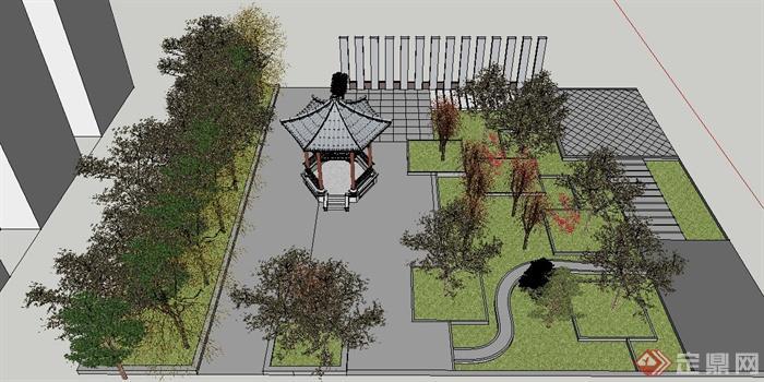 现代中式公共休闲绿地su模型(3)