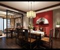 餐厅,餐桌椅,吊灯,隔断,餐具,陈设装饰