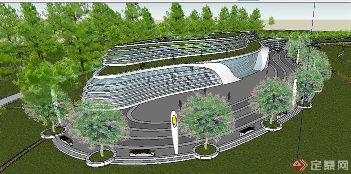 现代风格科技展览馆建筑设计su模型,建筑流线型设计,现代感十足,包括展览馆建筑、层叠景观水池、廊架、木平台、铺装、坐凳等,模型设计整体美观大方,细节处理较好,材质处理得当,具有一定参考价值。