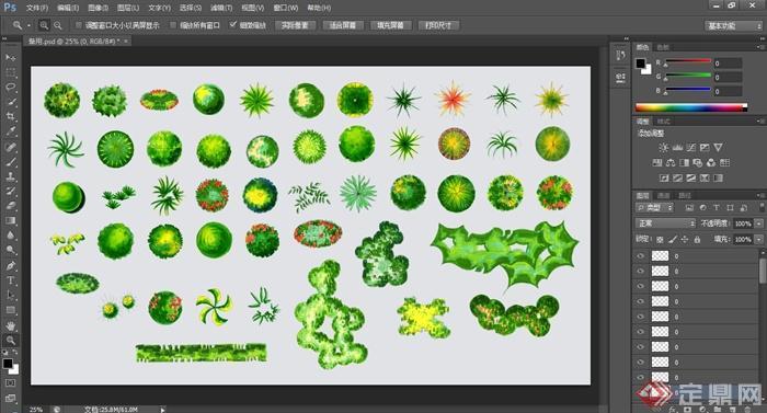 手绘样式绿色植物ps顶视素材