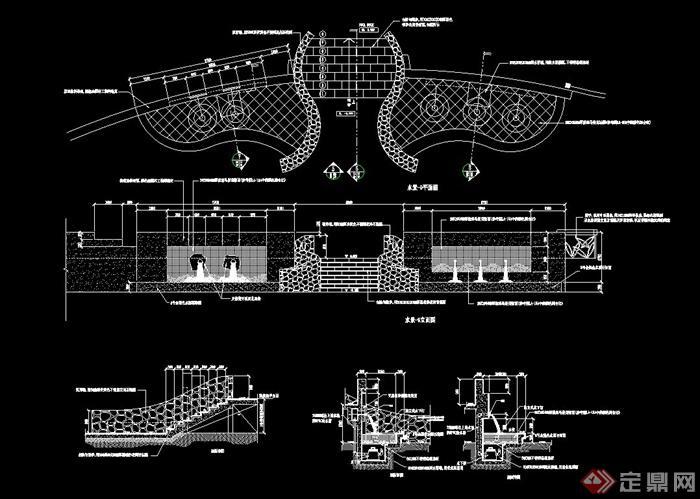 台阶水景墙设计CAD施工图