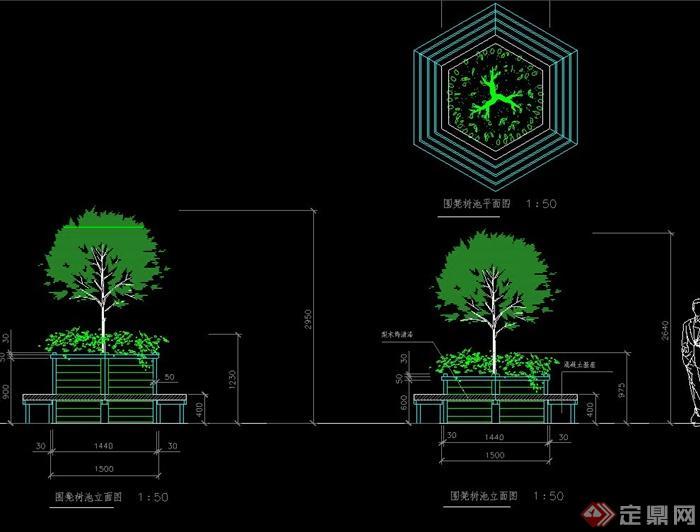 菱形树池坐凳设计cad施工图