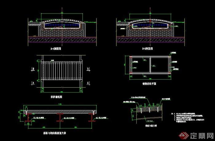 单孔拱桥v单孔CAD施工图cadxy轴角度图片