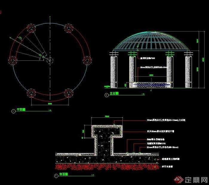 cad drawings]  > 圆顶凉亭设计cad施工图,包含了平立剖面详图,标注