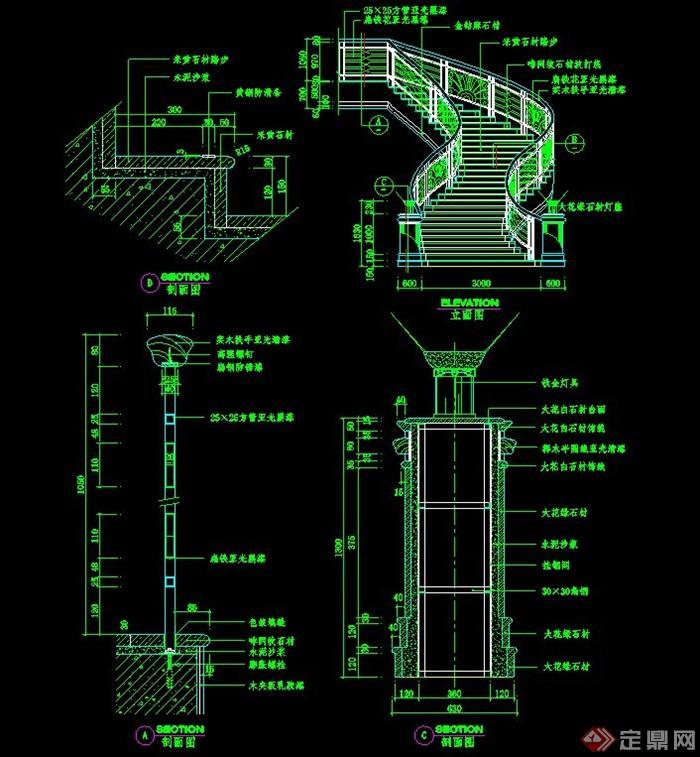 室内楼梯栏杆设计CAD施工图
