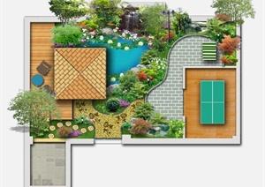 某现代风格庭院花园规划设计psd平面图图片