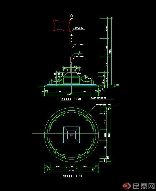 旗杆台设计cad施工图