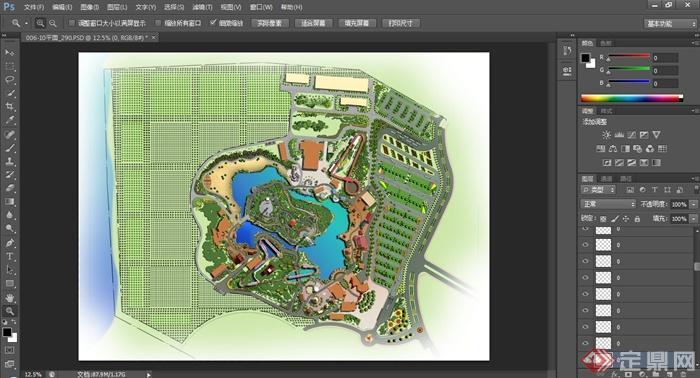 某湖泊休闲公园规划设计ps平面图