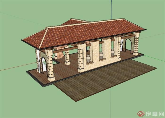 欧式t形廊亭设计su模型