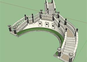 新古典台阶景墙设计SU(草图大师)模型