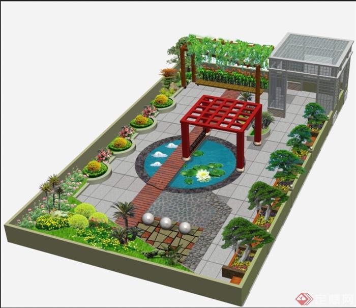 屋顶花园景观设计psd效果图