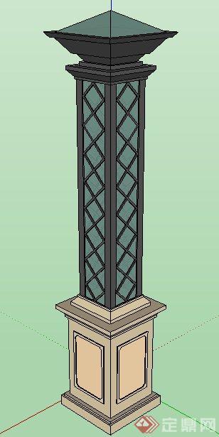 两款新古典风格庭院灯su模型