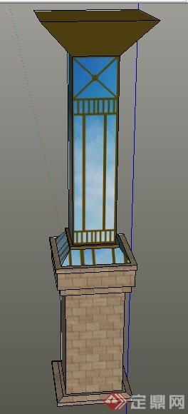 两款园林景观灯柱su模型