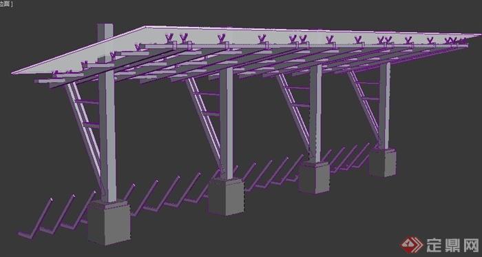 现代风格玻璃廊架3dmax模型