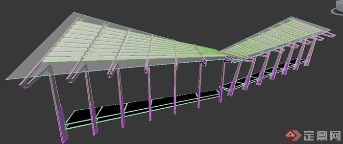 现代风格坡顶廊架3dmax模型