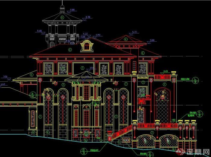 某两层欧式风格带斗拱别墅建筑设计CAD施工全图,该建筑楼层为两层,图纸内容有构造做法、节点大样、立面图、楼梯大样、门窗表、门窗大样、平面图、设计说明、目录、卫生间大样等,具有一定的参考价值。