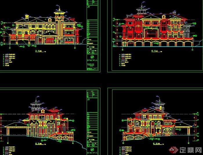 某两层欧式风格带斗拱别墅建筑设计cad施工全图