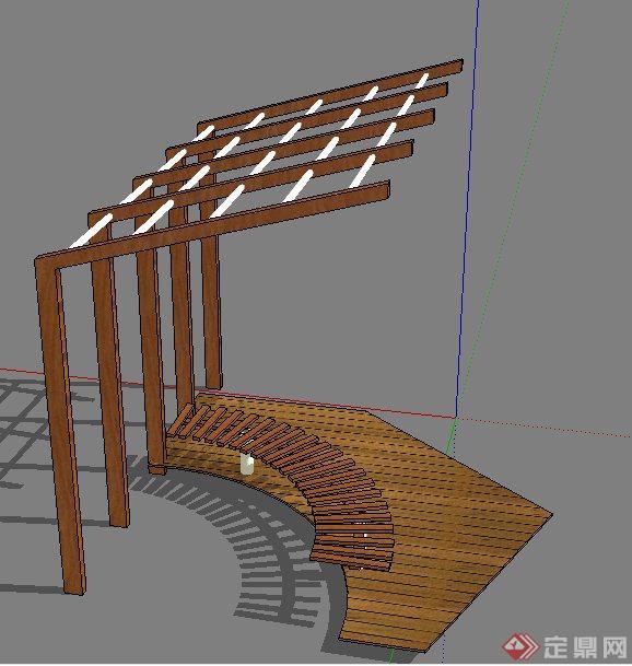 现代风格木花架,坐凳,木平台su模型