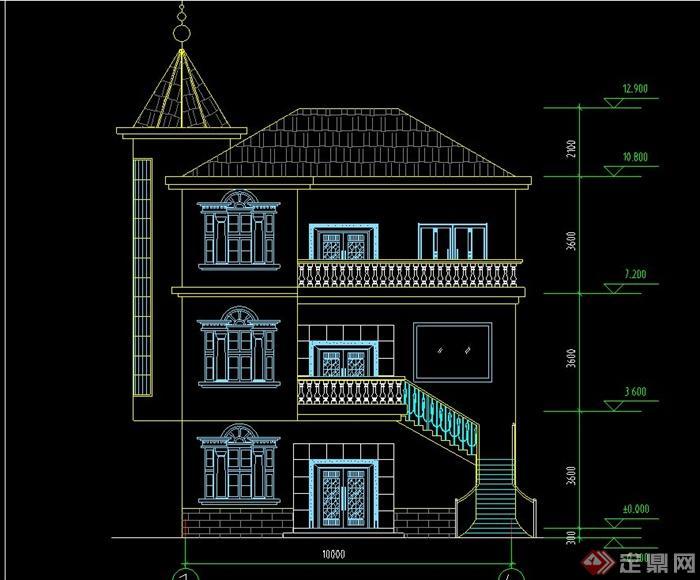 某欧式三层农村别墅建筑设计cad图