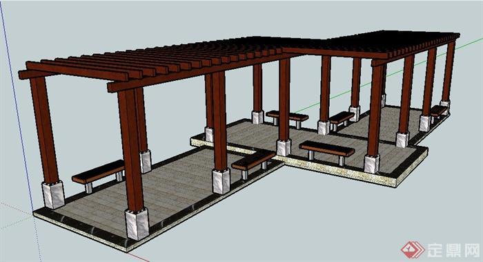 现代风格连廊廊架su模型