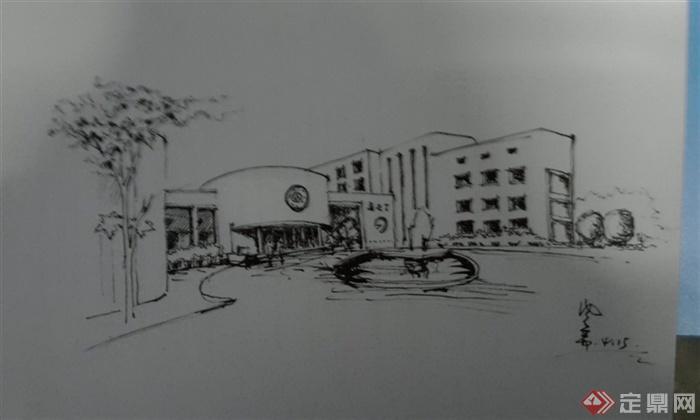 建筑设计手绘图-办公建筑植物道路水景雕塑-设计师