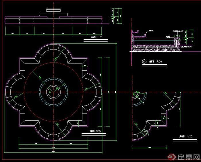 花型水池设计CAD施工图