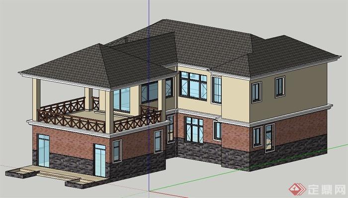 现代中式风格双层别墅住宅建筑设计su模型(2)