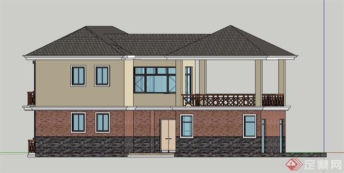 现代中式风格双层别墅住宅建筑设计su模型(1)