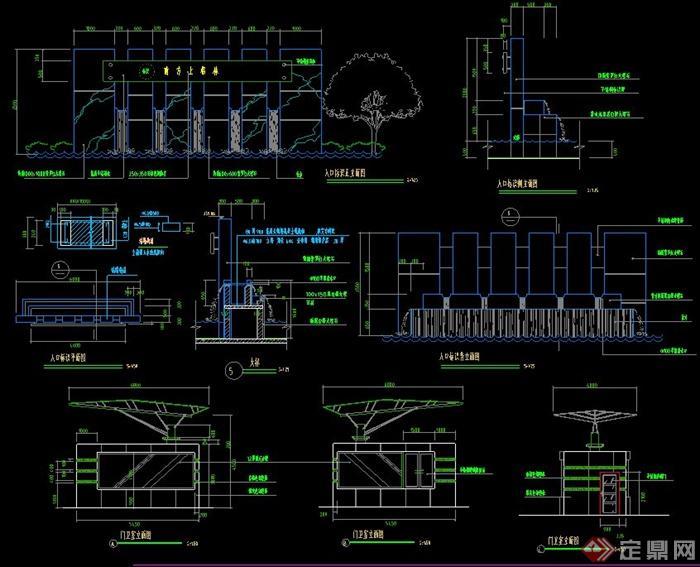 现代某广场水景墙设计CAD施工图