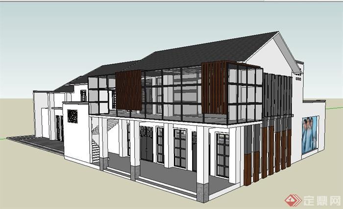 现代中式风格双层商铺建筑设计su模型