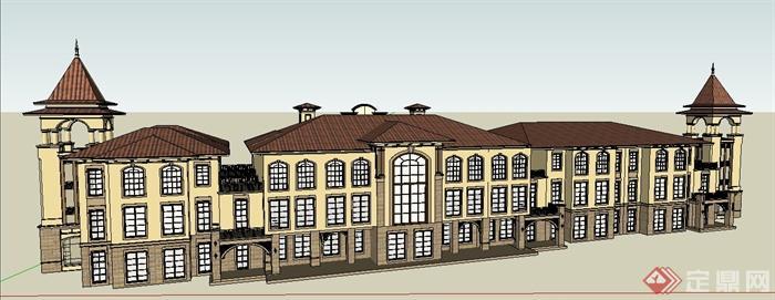 欧式风格三层会所建筑设计su模型