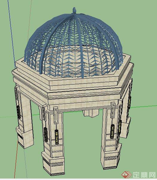欧式风格铁艺圆顶景观亭su模型(2)