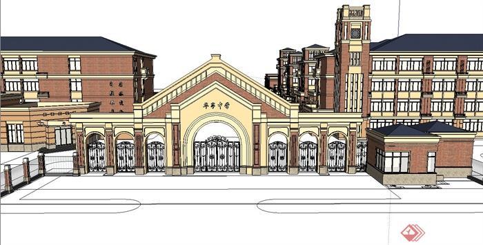 某欧式风格学校建筑设计su模型(1)图片