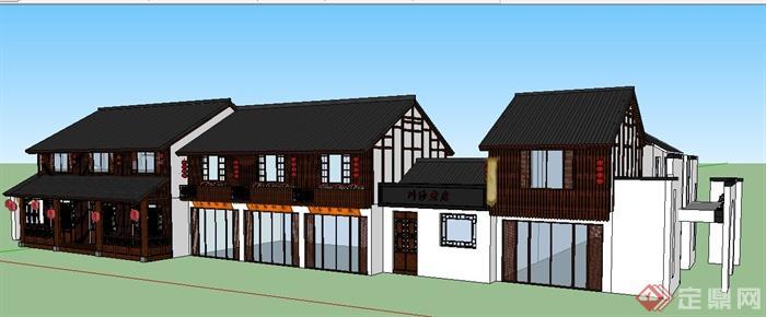 现代中式风格双层餐馆建筑设计su模型图片