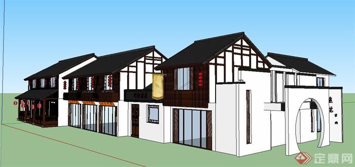 现代中式风格双层餐馆建筑设计su模型