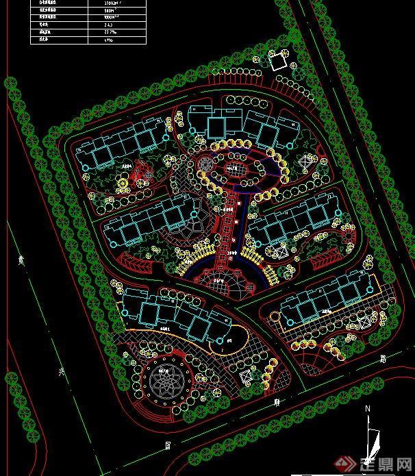 十个居住区字体规划设计CAD弧形cad景观图纸图片