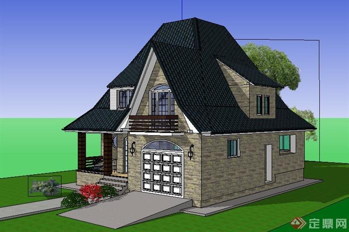 欧式二层民居别墅建筑设计su模型
